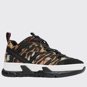 Burberry Logo Union Leopard Check Men Sneakers NWT